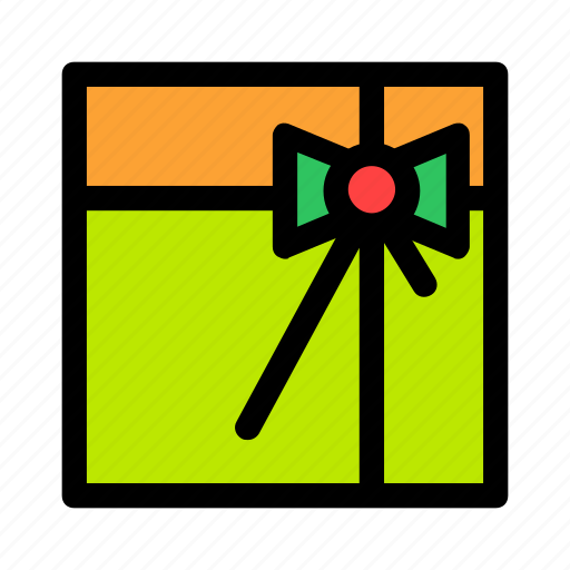 bow, box, christmas, gift, green, new year, present icon
