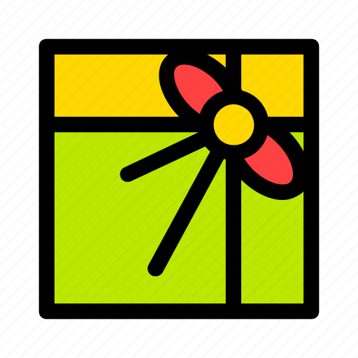 bow, christmas, gift, green, new year, present icon