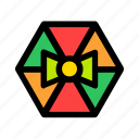 bow, christmas, gift, hexagon, new year icon