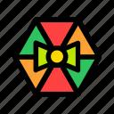 bow, christmas, gift, hexagon, new year icon