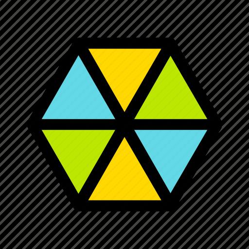 christmas, gift, hexagon, new year, present icon
