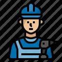 drill, handyman, job, occupation, profession, repairman, serviceman icon