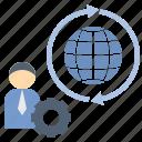 businessman, export, freelancer, global, worldwide icon