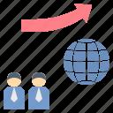 businessman, economic, global, growth, trend icon