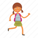 girl, running, school, student icon