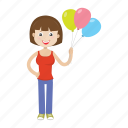 balloon, cartoon, girl, kid icon