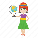 character, girl, globe, kid, student icon