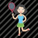 girl, kid, play, racket, tennis