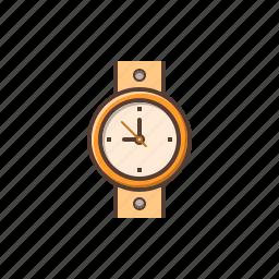 golden watch, watch, wrist watch icon