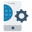 business, gear, global business, globe, mobile, mobile phone, settings icon