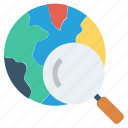 browsing, find, global business, globe, magnifier glass, search, world icon