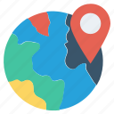 globe, international, location, map pin, pin, way, world