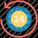 24 hours, around, arrow, global business, globe, globe sync, world
