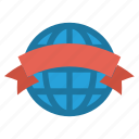 award, badge, care, globe, medal, ribbon, world icon