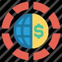 circle, currency, dollar, earth, globe, money, world icon