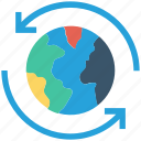 around, arrows, global business, globe, globe sync, sync, world icon