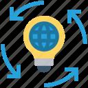 global business, bulb, light bulb, globe, idea icon