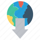 arrow, download, earth, globe, international, network, world icon