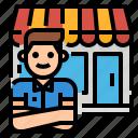 business, owner, entrepreneur, shop, globalbusiness icon