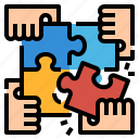 complete, globalbusiness, jigsaw, solution, teamwork icon
