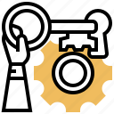 solution, key, strategy, success, vision icon