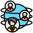 connections, corporation, global, network, partnership icon