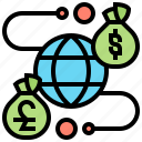 currency, financial, service, transaction, global icon
