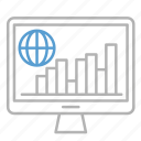 business, chart, global, management, monitor icon