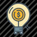bulb, energy, finance, idea, think