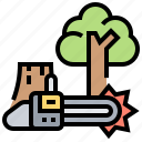 deforestation, ecology, forest, timber, warming icon