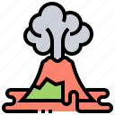 earthquake, eruption, fire, lava, volcano icon
