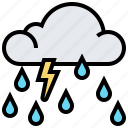 cloud, rain, storm, thunder, weather icon