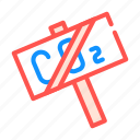 co2, crossed, global, nameplate, problem, warming icon