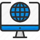 computer, earth, globe, monitor, screen, world icon