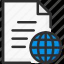 doc, document, earth, file, globe, world icon