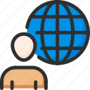 earth, globe, man, user, world icon