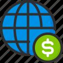 coin, dollar, earth, globe, money, world