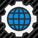 cogwheel, earth, globe, options, settings, world icon