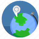 geo, globe, map, pointer, world icon