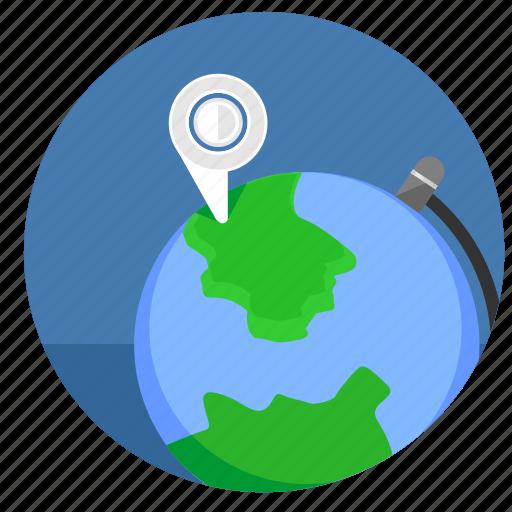 geo, globe, map, pointer, world icon