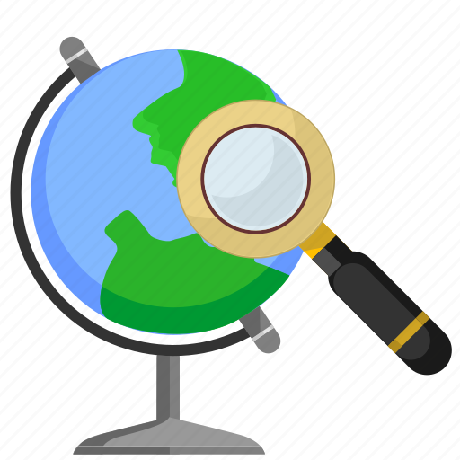 find, geo, glass, globe, magnifier, search icon