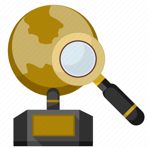 find, geo, globe, gold, monument, place, search icon