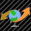 globe, map, tourism, way, world icon