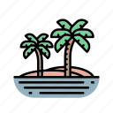 island, nature, palms, travelling, voyage icon
