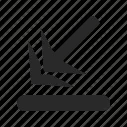 arrow, arrow-down-left, arrows, back, down, left, pointer icon