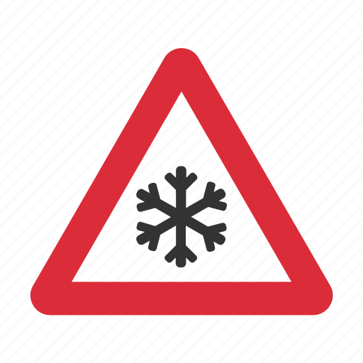 caution, danger, ice, icy, risk of ice, warning, warning sign icon