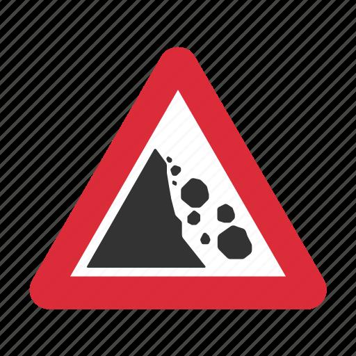 danger, fallen rocks, falling rocks, falling rocks ahead, traffic sign, warning, warning sign icon