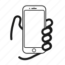 cellphone, display, hold, iphone, monitor, phone, screen icon