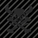 bone, bones, cartoon, face, head, poison, skull icon