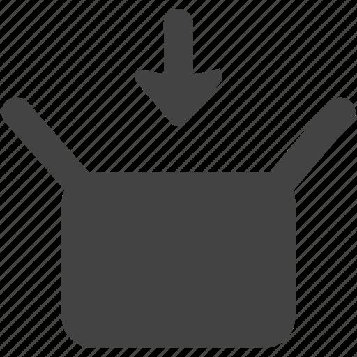 box, down, download, open icon